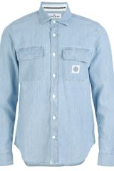 Stone Island Denim Shirt - Lyst