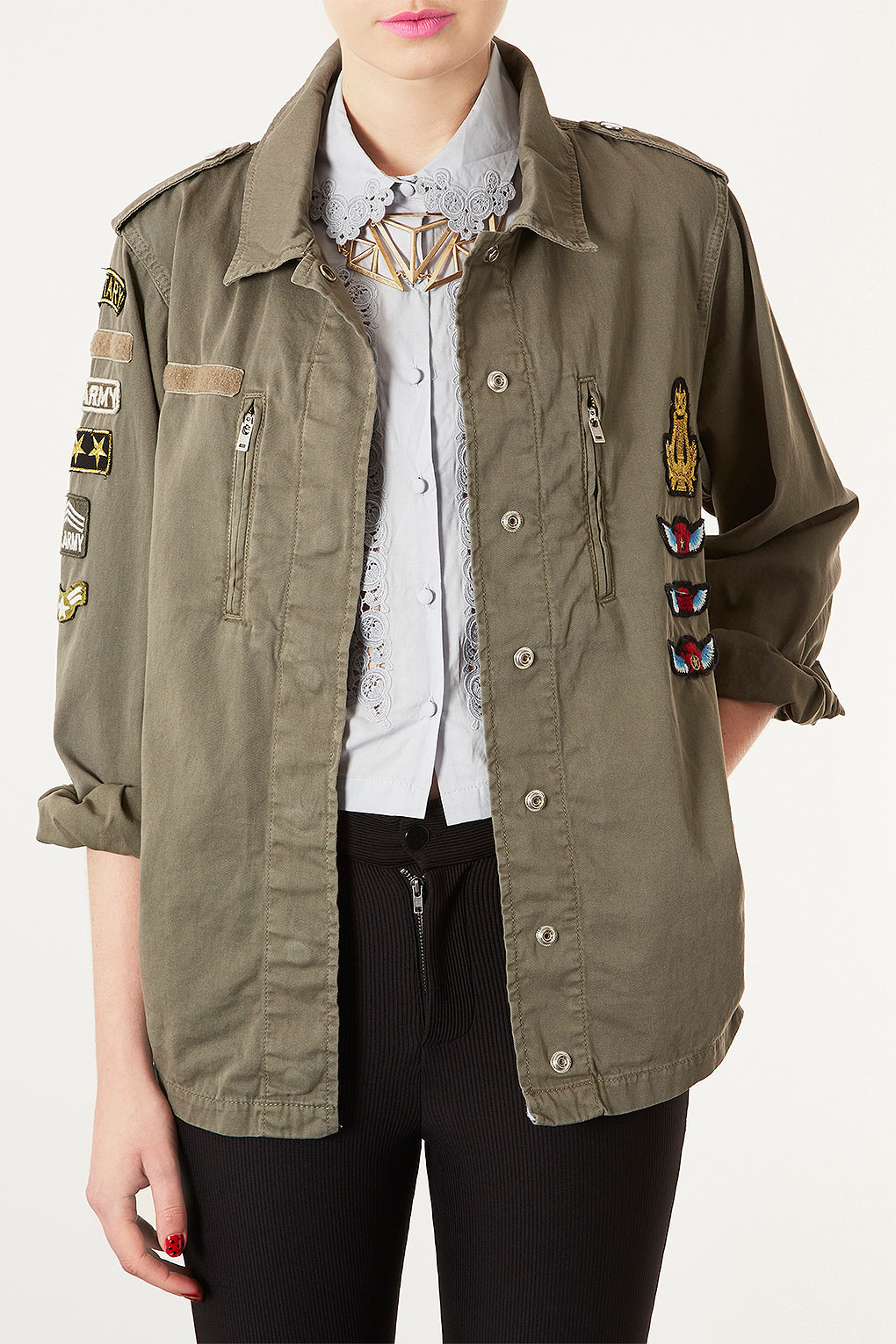 Topshop Badge Army Jacket In Green | Lyst