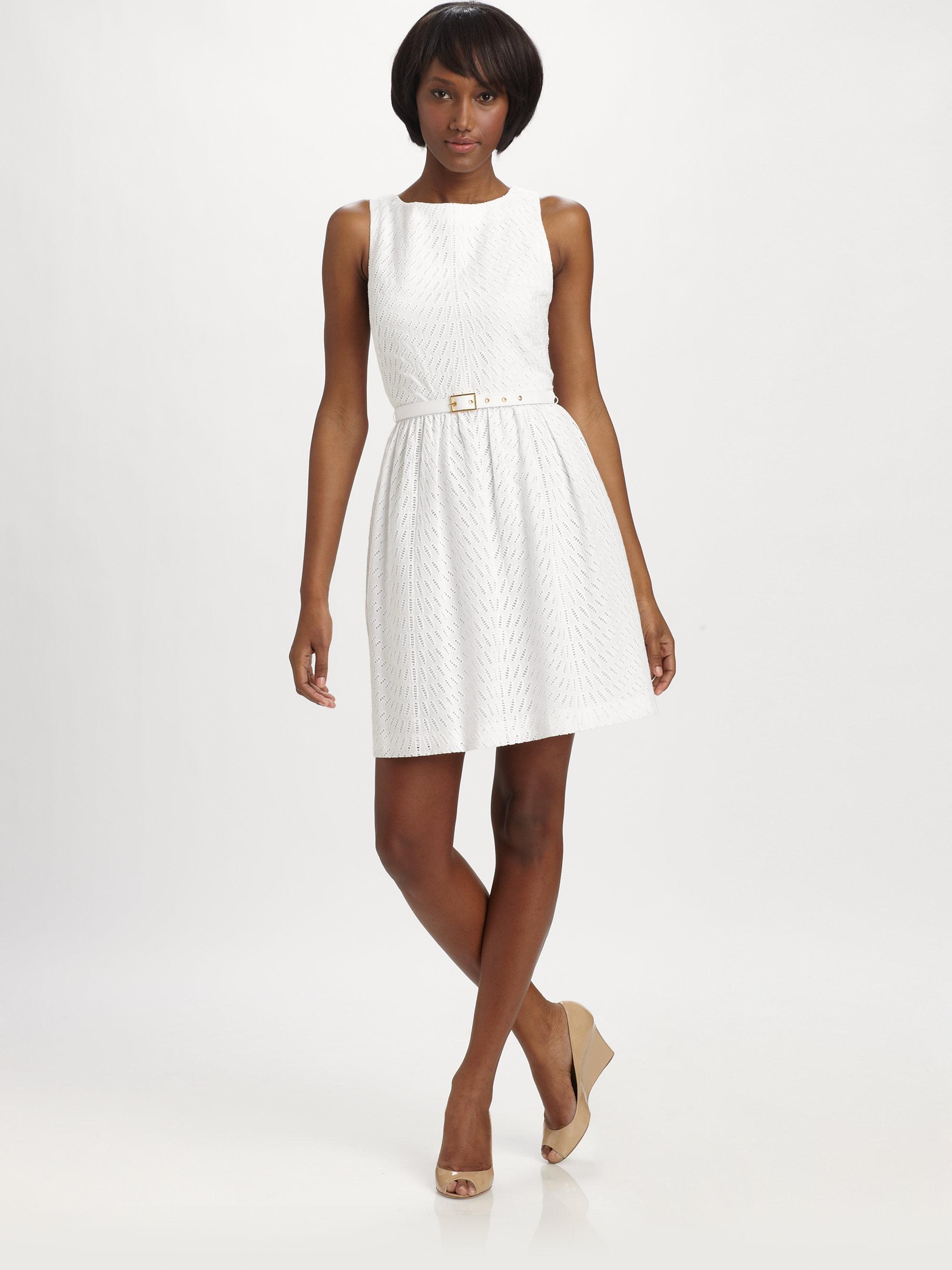 eeca49b0e77 Trina Turk Belted Eyelet Dress in White - Lyst