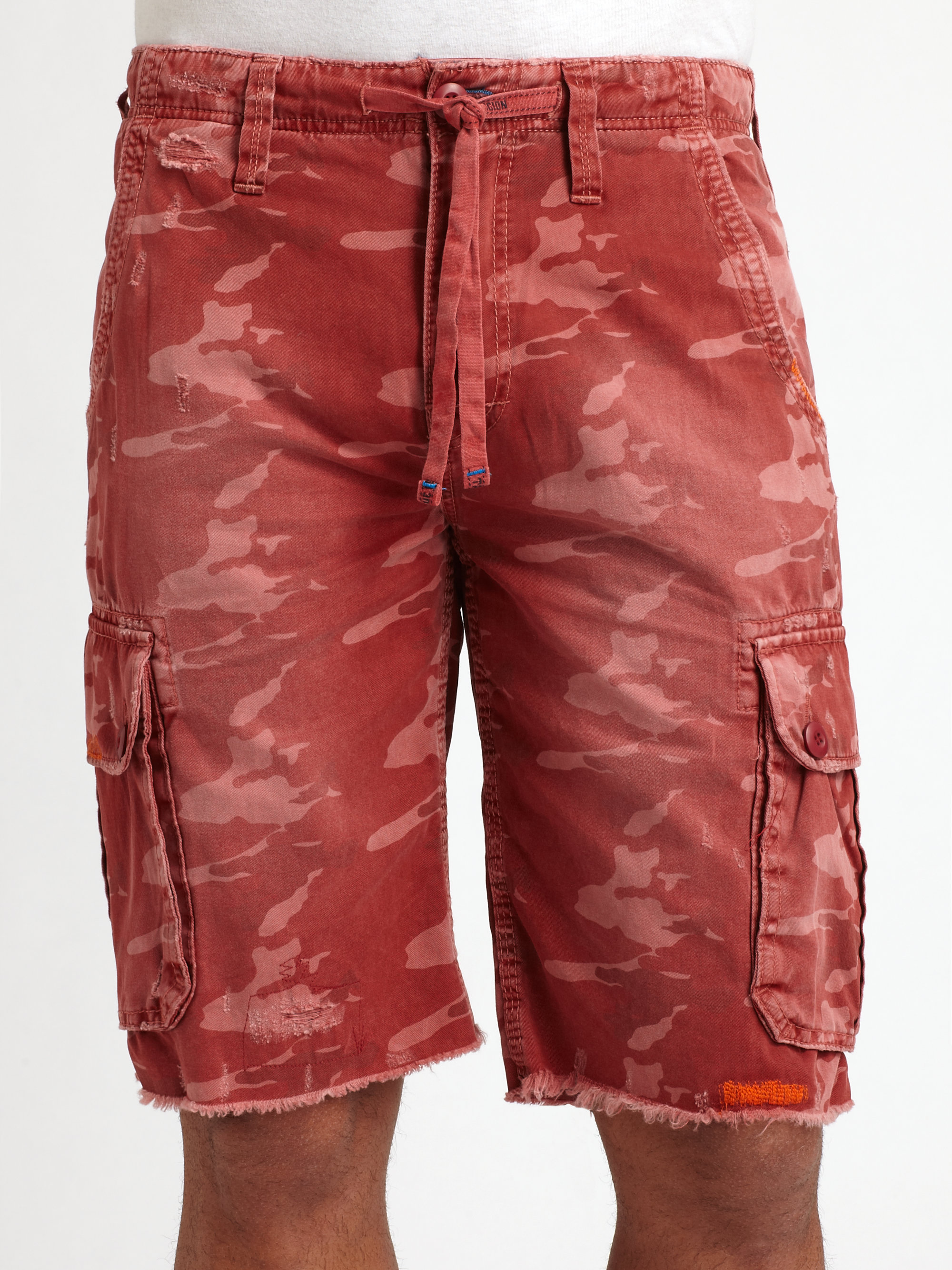 true religion recon cargo shorts in red for men lyst. Black Bedroom Furniture Sets. Home Design Ideas