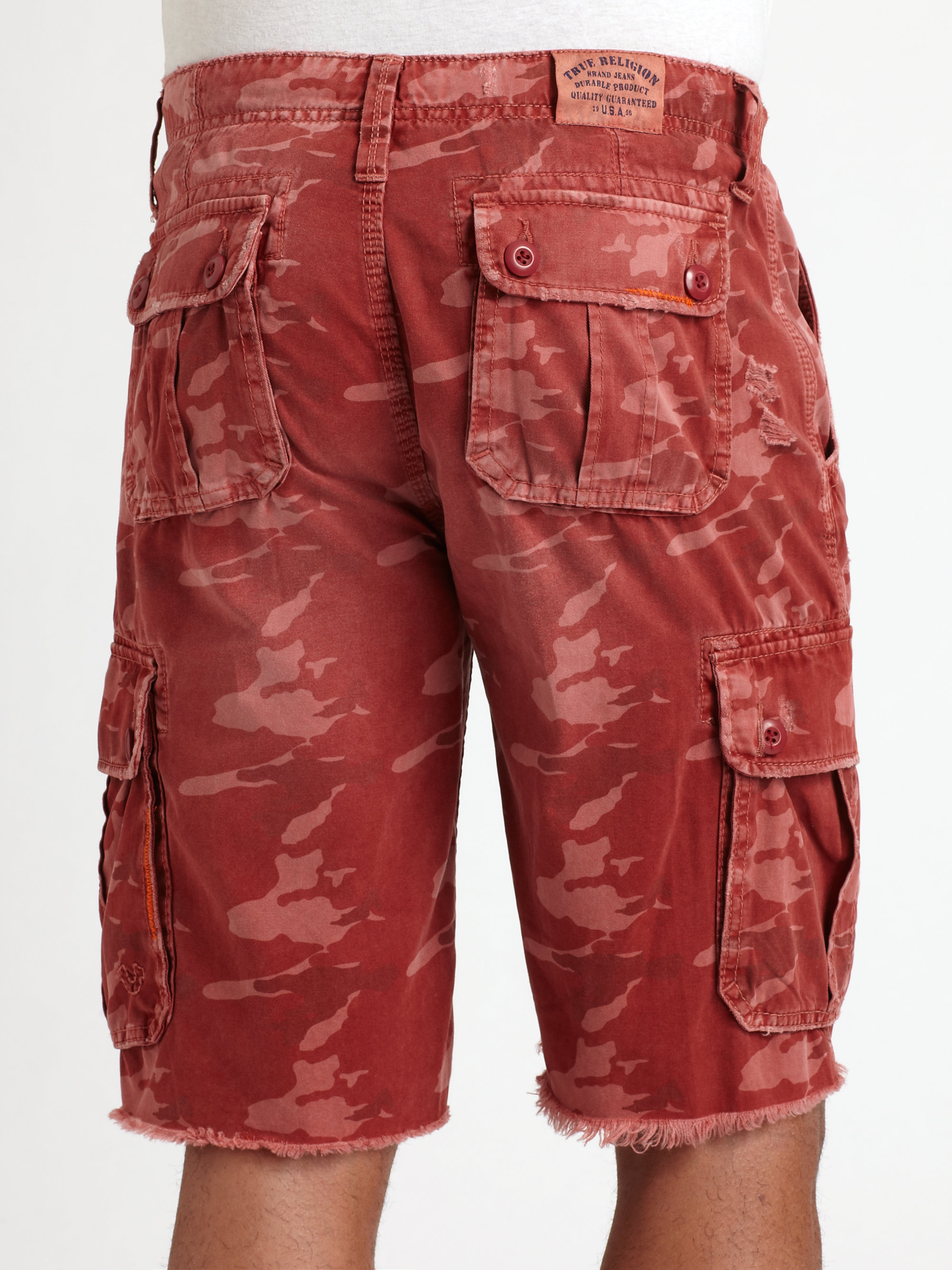 41dc10cde8 True Religion Recon Cargo Shorts in Red for Men - Lyst