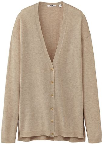 Uniqlo Women Cotton Blended Long Cardigan - Lyst