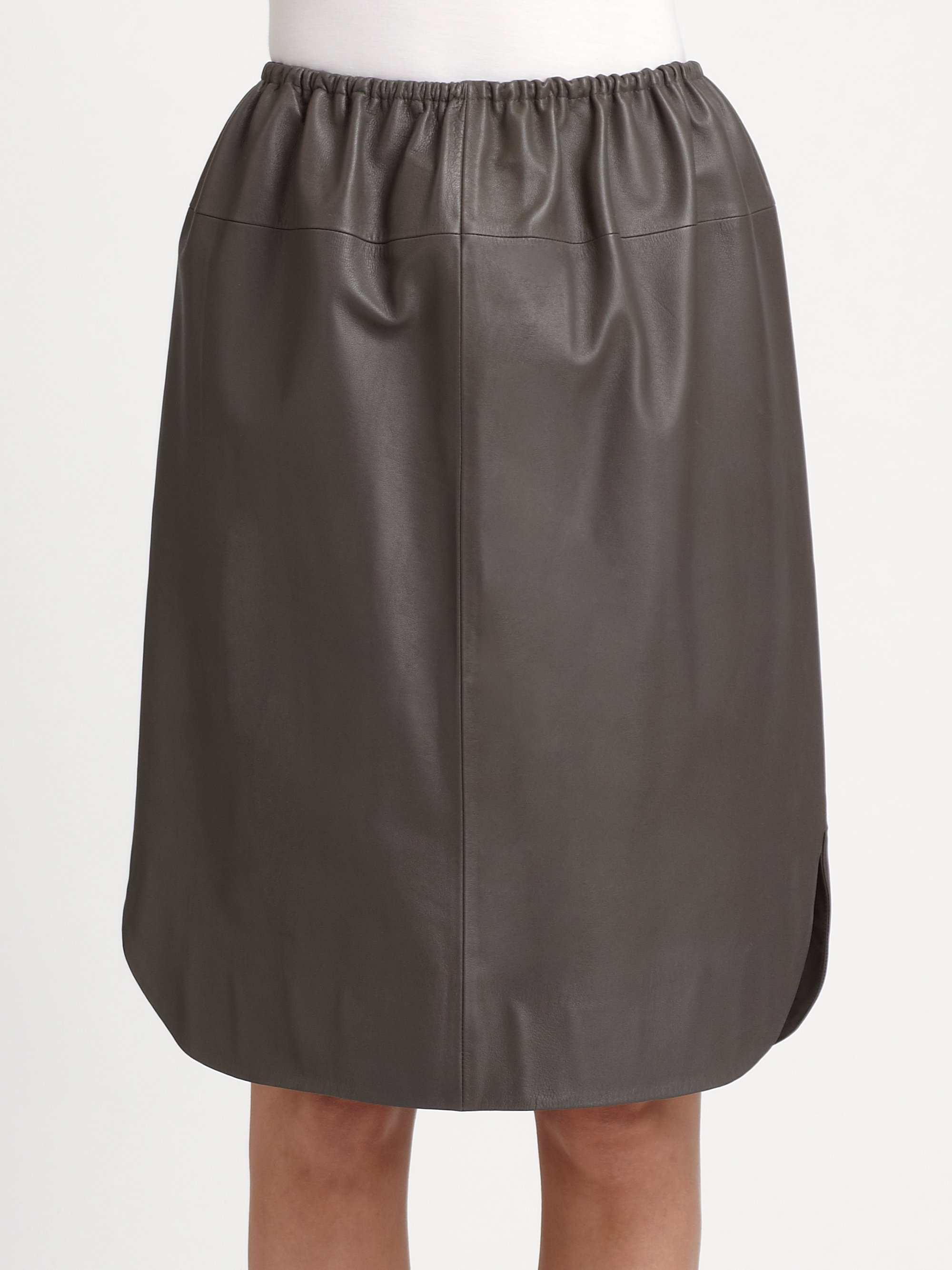 a detacher leather skirt in gray lyst