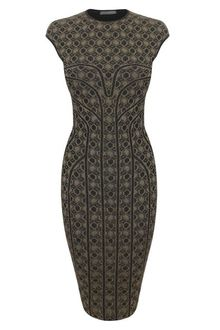 Alexander McQueen Metallic Honeycomb Lace Jacquard Pencil Dress - Lyst