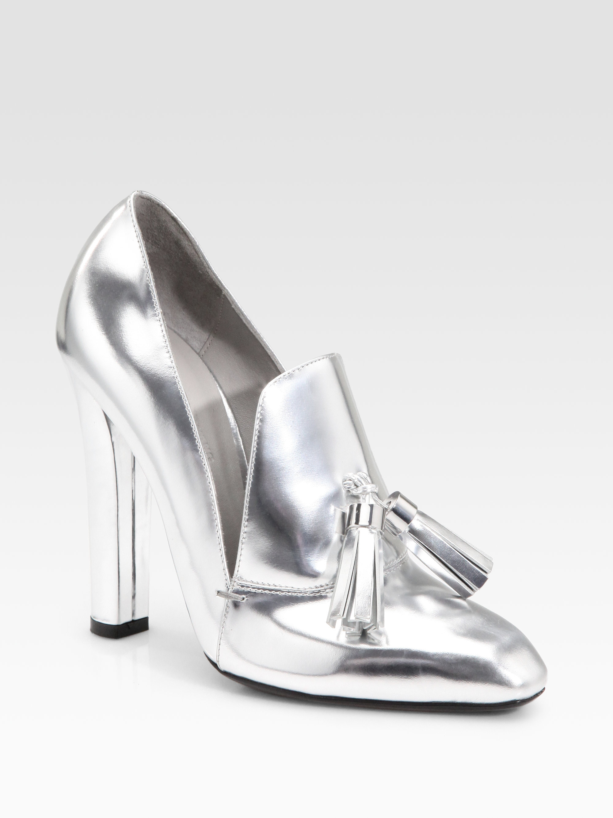 alexander wang anais metallic high heel loafers in silver lyst. Black Bedroom Furniture Sets. Home Design Ideas