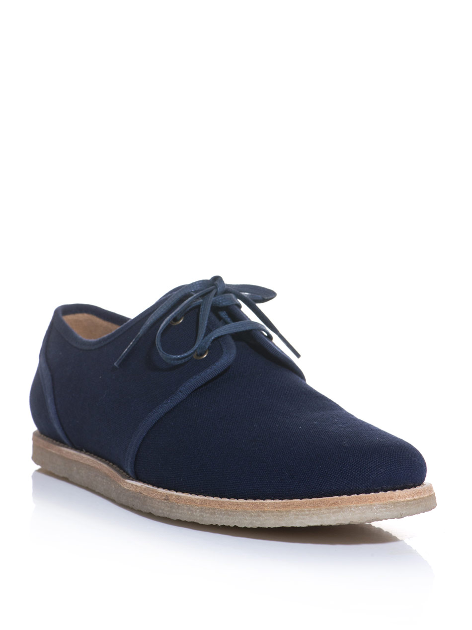 a p c derby canvas contrast sole shoes in blue for