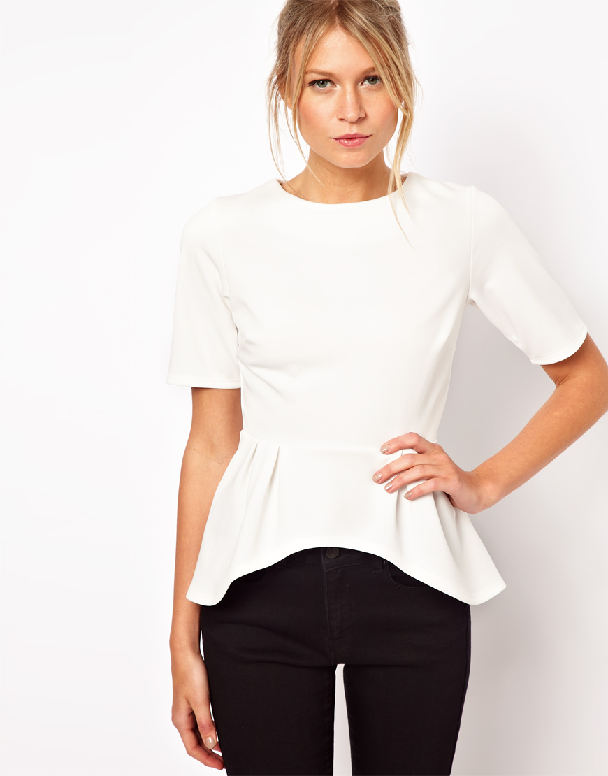 Asos Peplum Top with Half Sleeve in White