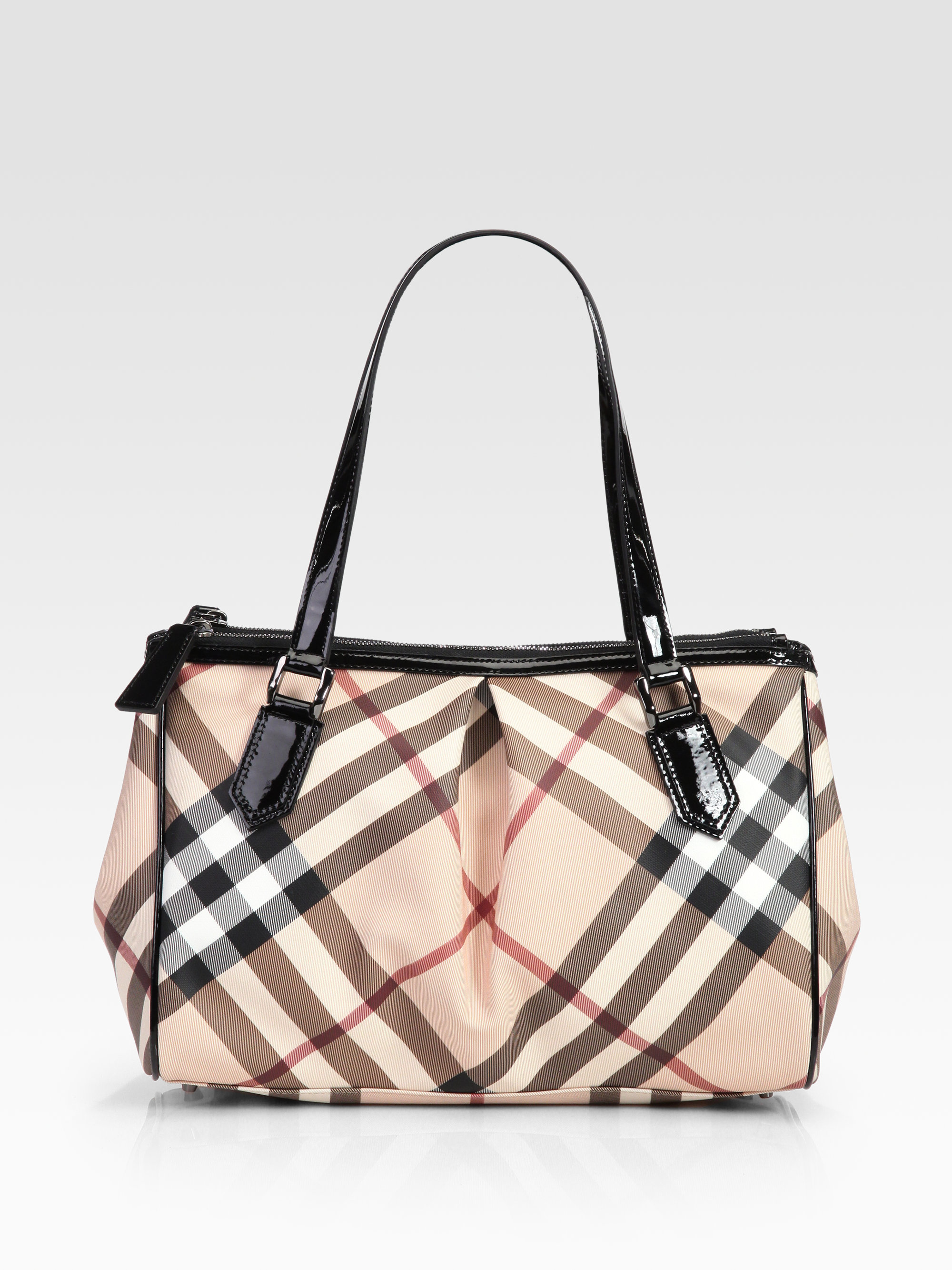 1b45846ae99 Burberry Check Canvas Shoulder Bag in Natural - Lyst