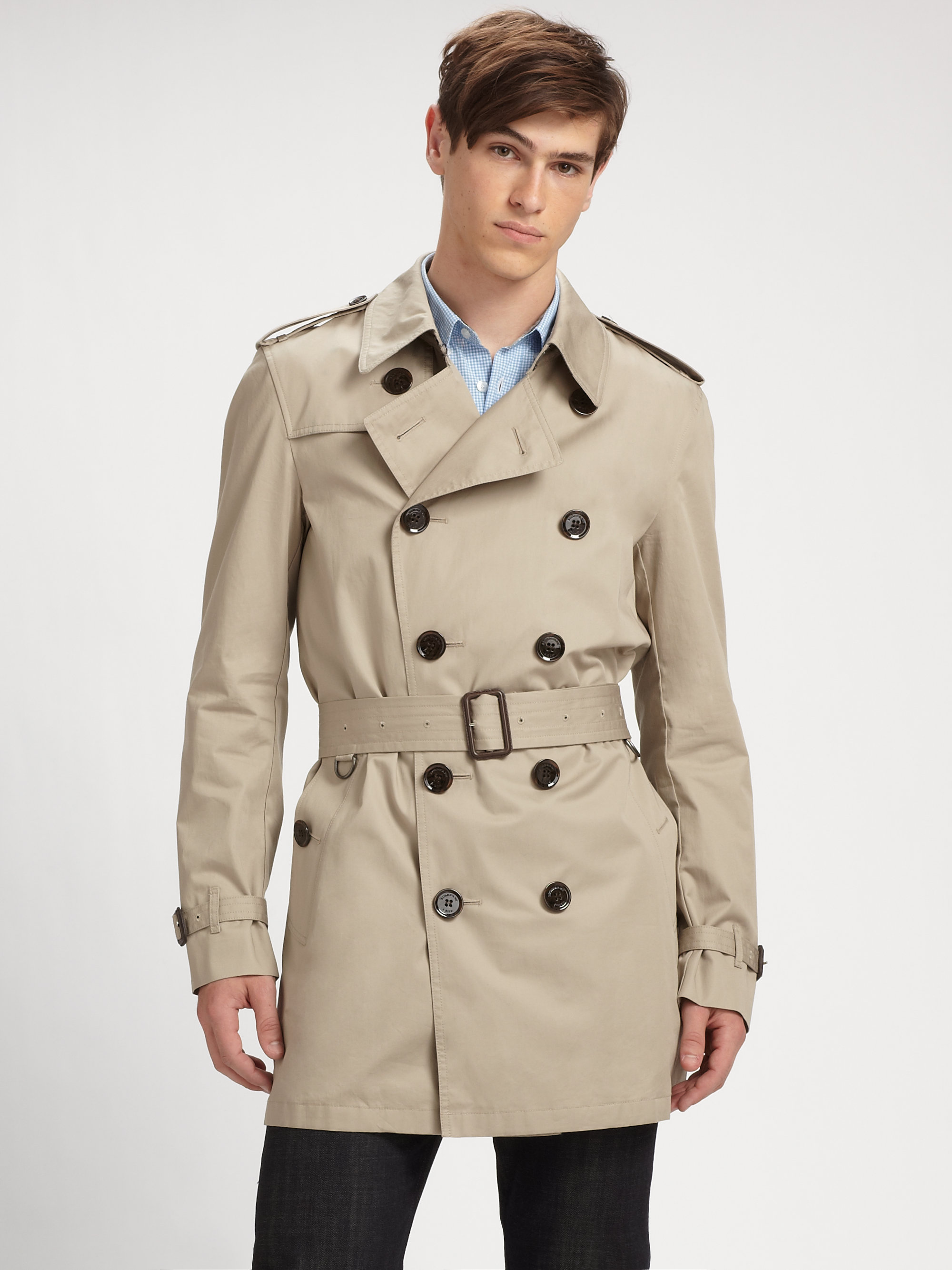 6b2a6f978c3 Burberry Brit Trench Coat in Brown for Men - Lyst