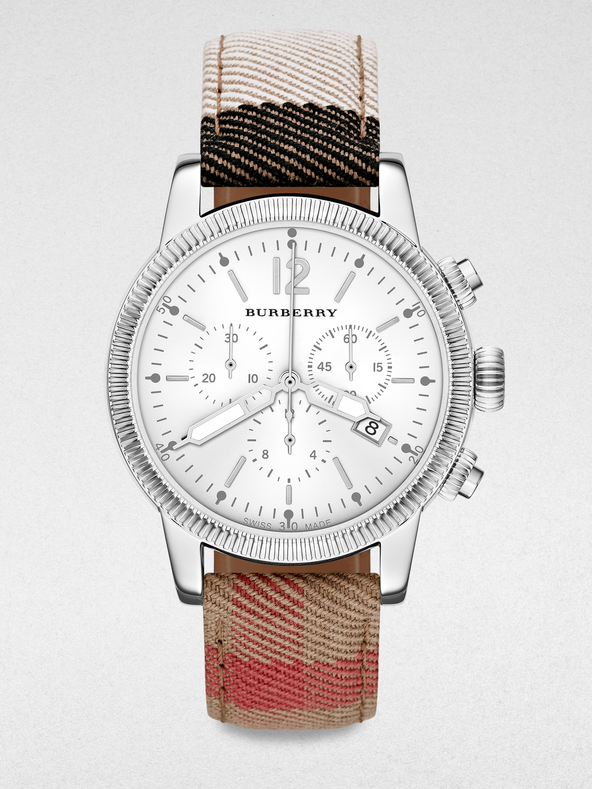 Lyst burberry chronograph stainless steel check strap watch in metallic for men for Burberry watches