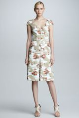Carolina Herrera Chairprint Cap-sleeve Dress  - Lyst