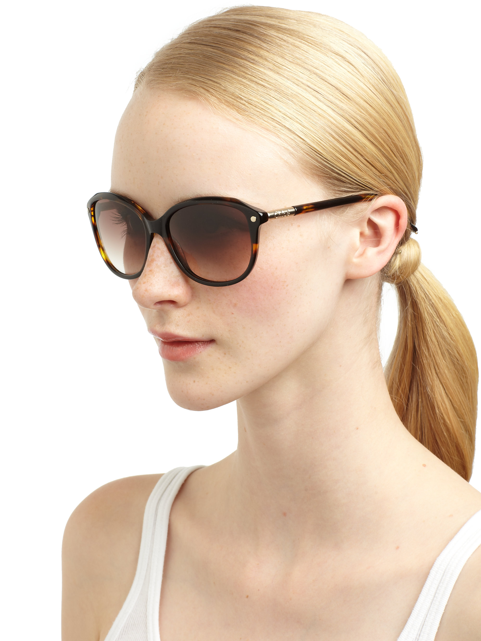 chlo233 modified cats eye sunglasses in brown lyst