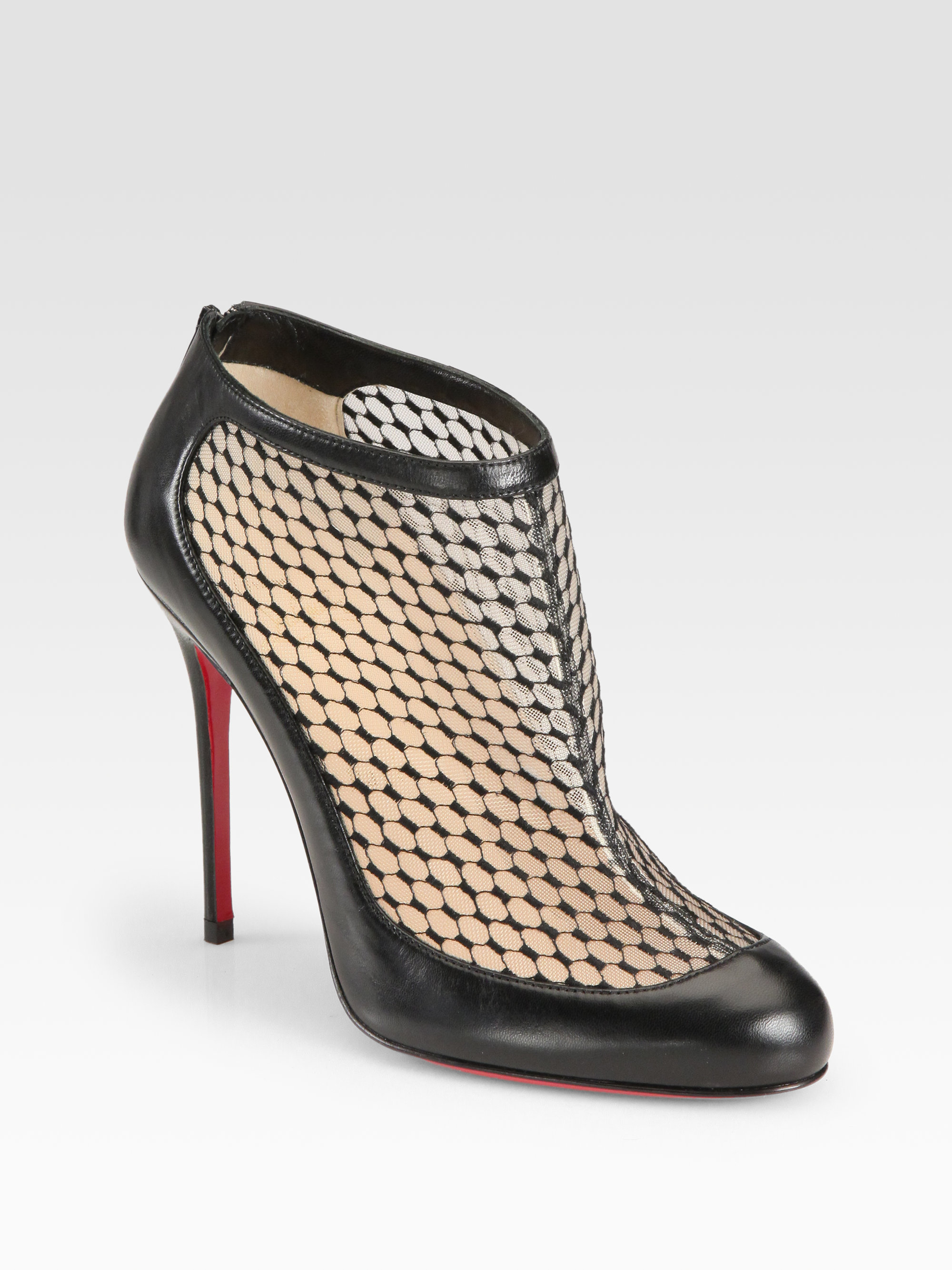 8cb7a7ea5f06 order christian louboutin pumps 29aac 240a2  closeout lyst christian  louboutin anna may lace leather ankle boots in black fb1a5 3d985