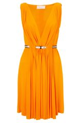 David Szeto Tangerine Belted Pleat Dress