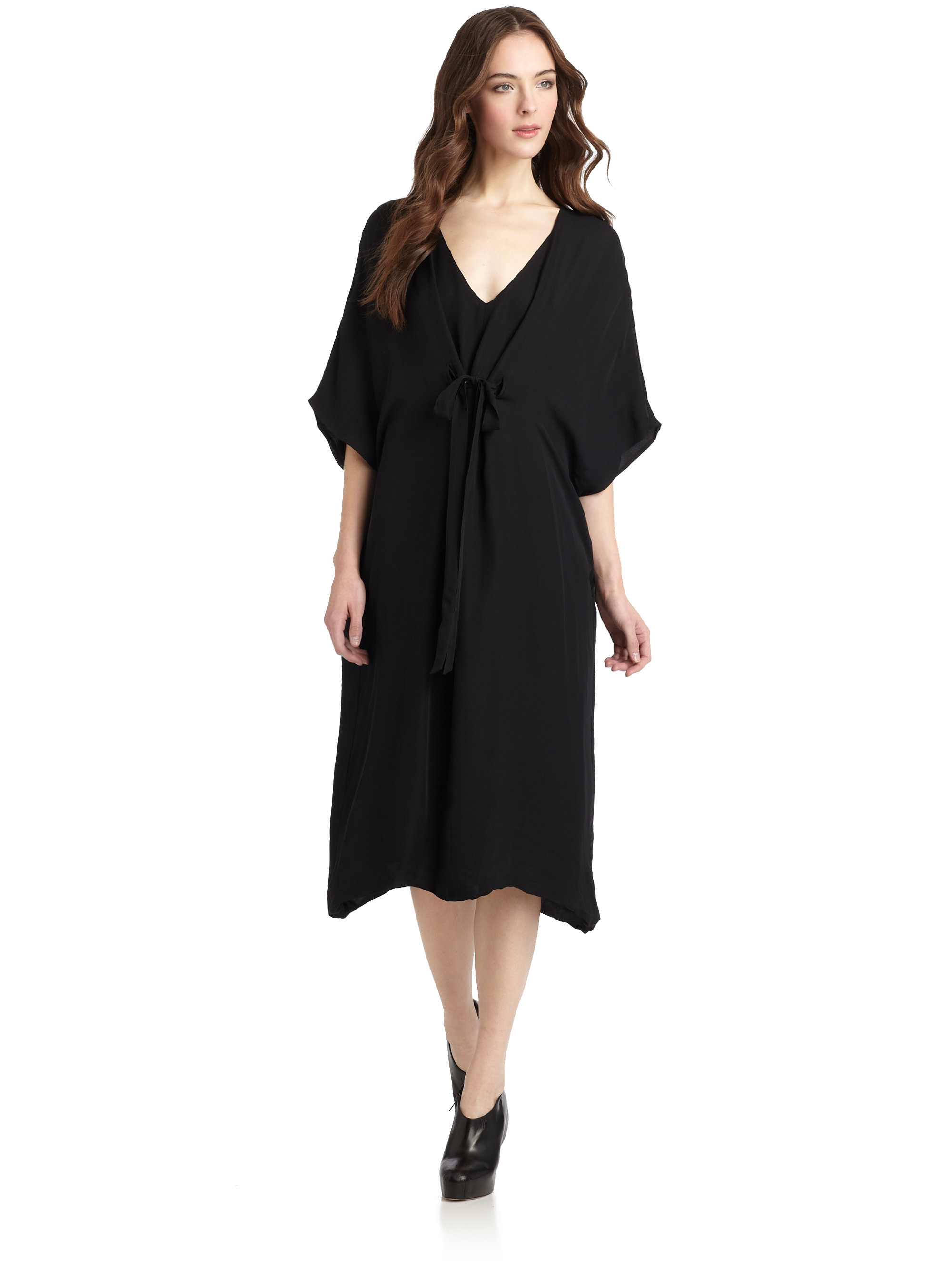 Lyst gar de silk caftan dress in black for Caftan avec satin de chaise
