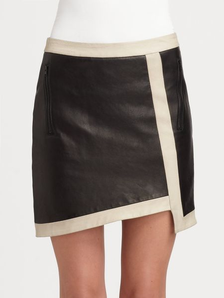 helmut lang evolution asymmetric leather skirt in black lyst