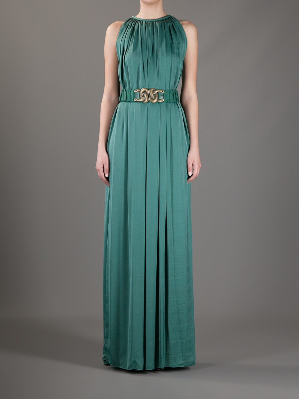 Dress In Pleated Green Lyst Maxi Intropia 7qEtwUv7zx