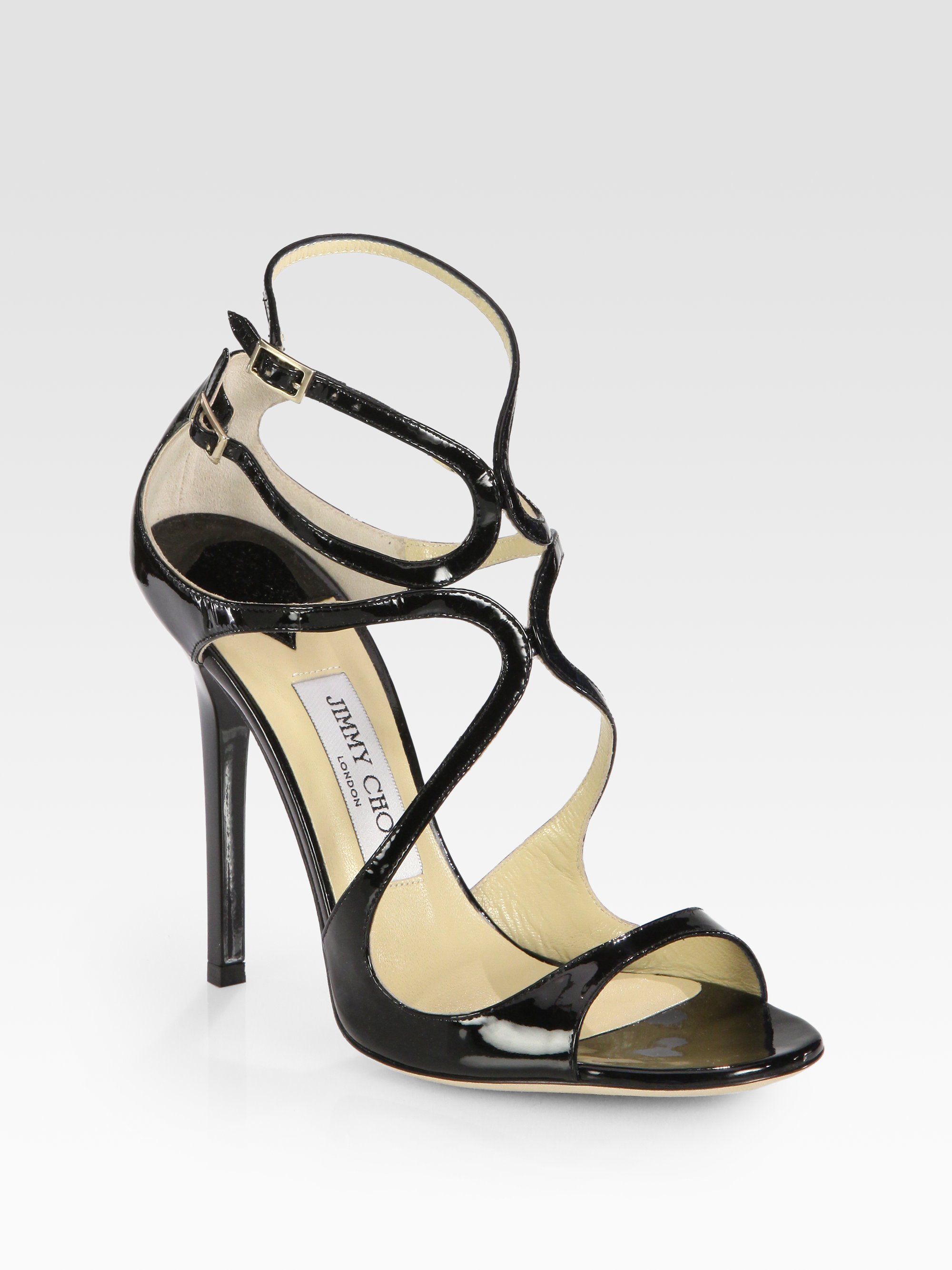 d5e1484400fb Lyst - Jimmy Choo Lance Strappy Patent Leather Sandals in Black