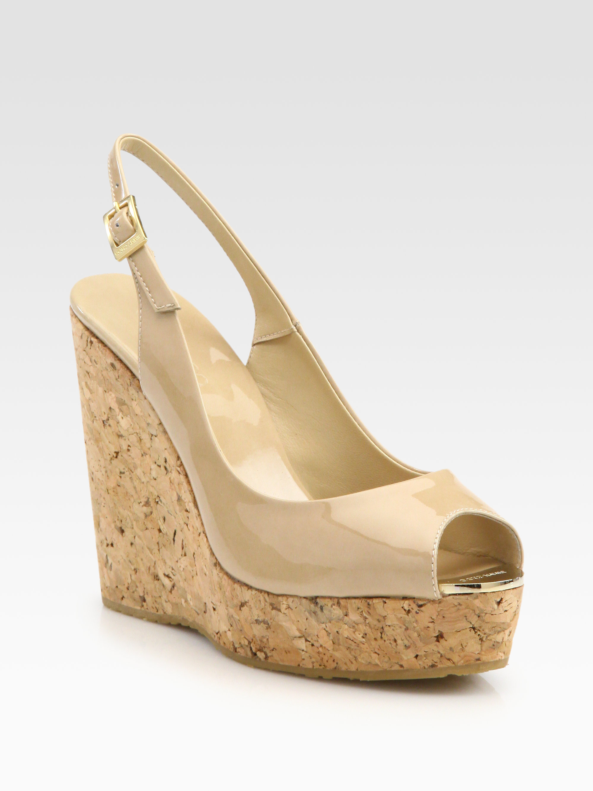 ad1529a8f671 Lyst - Jimmy Choo Prova Patent Leather Cork Wedge Sandals in Natural