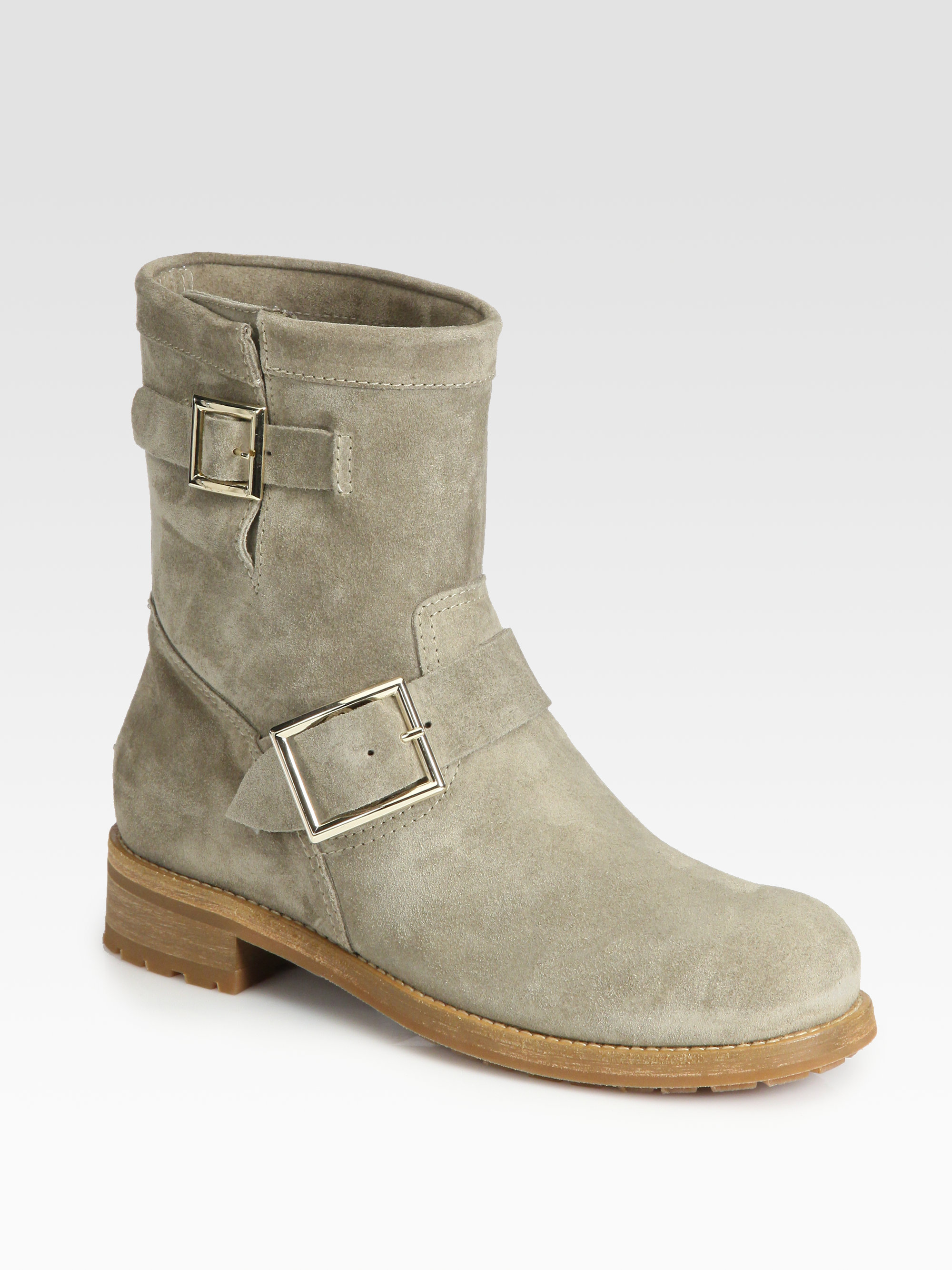 e63122a77ea Lyst - Jimmy Choo Youth Suede Biker Boots in Gray
