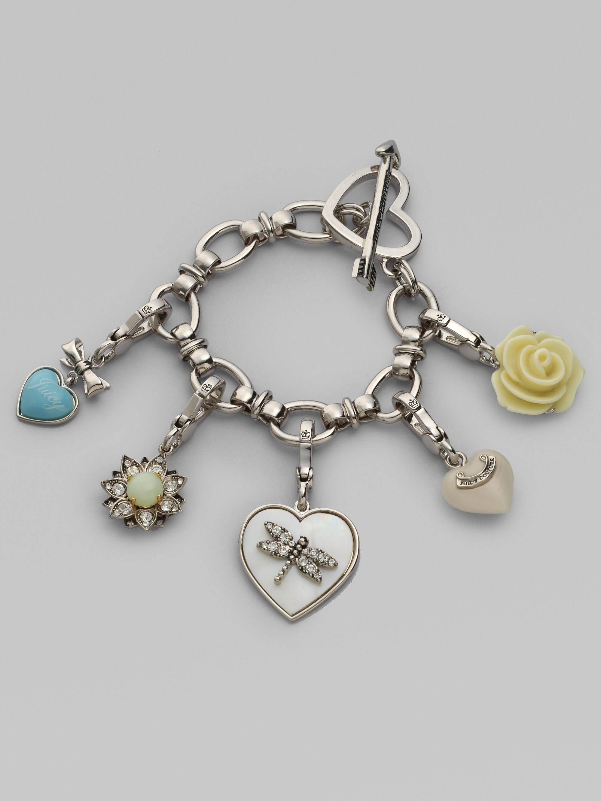 Lyst Juicy Couture Heart Gift Box Charm Bracelet In Metallic