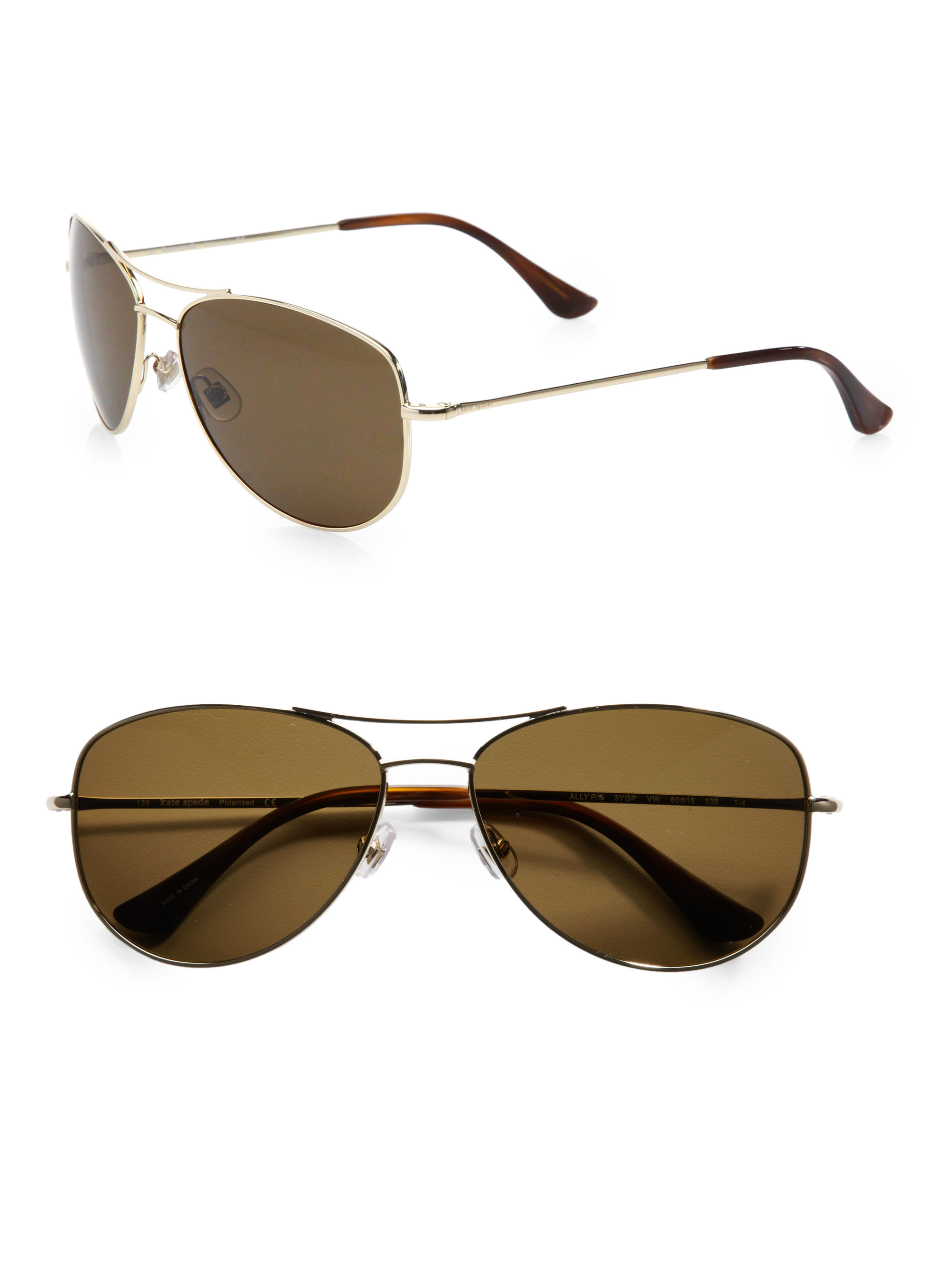 0f6c36022a Lyst - Kate spade new york Ally Polarized Metal Aviator Sunglasses in Brown