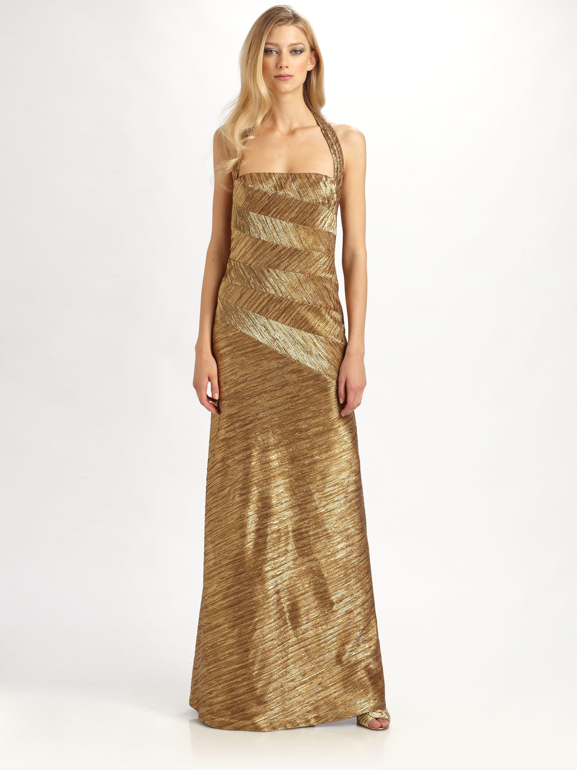 Lyst - Kay Unger Metallic Gown in Brown