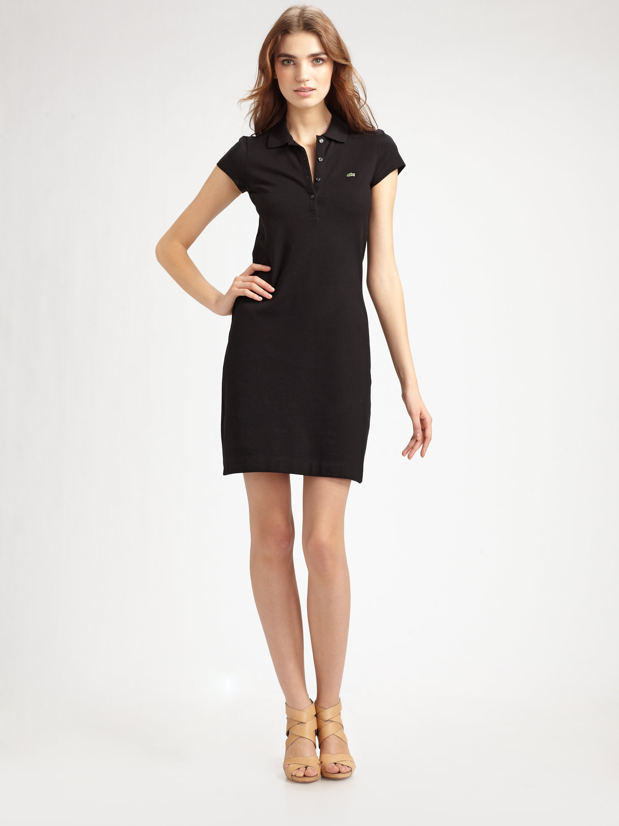a2a97a1b7ca622 Lyst - Lacoste Stretchcotton Polo Dress in Black