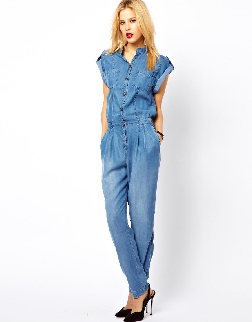 54ca036055a Mango Denim Boiler Suit in Blue - Lyst