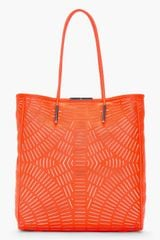 McQ by Alexander McQueen Fluorescent Orange Slashed Leather Shopper Tote - Lyst