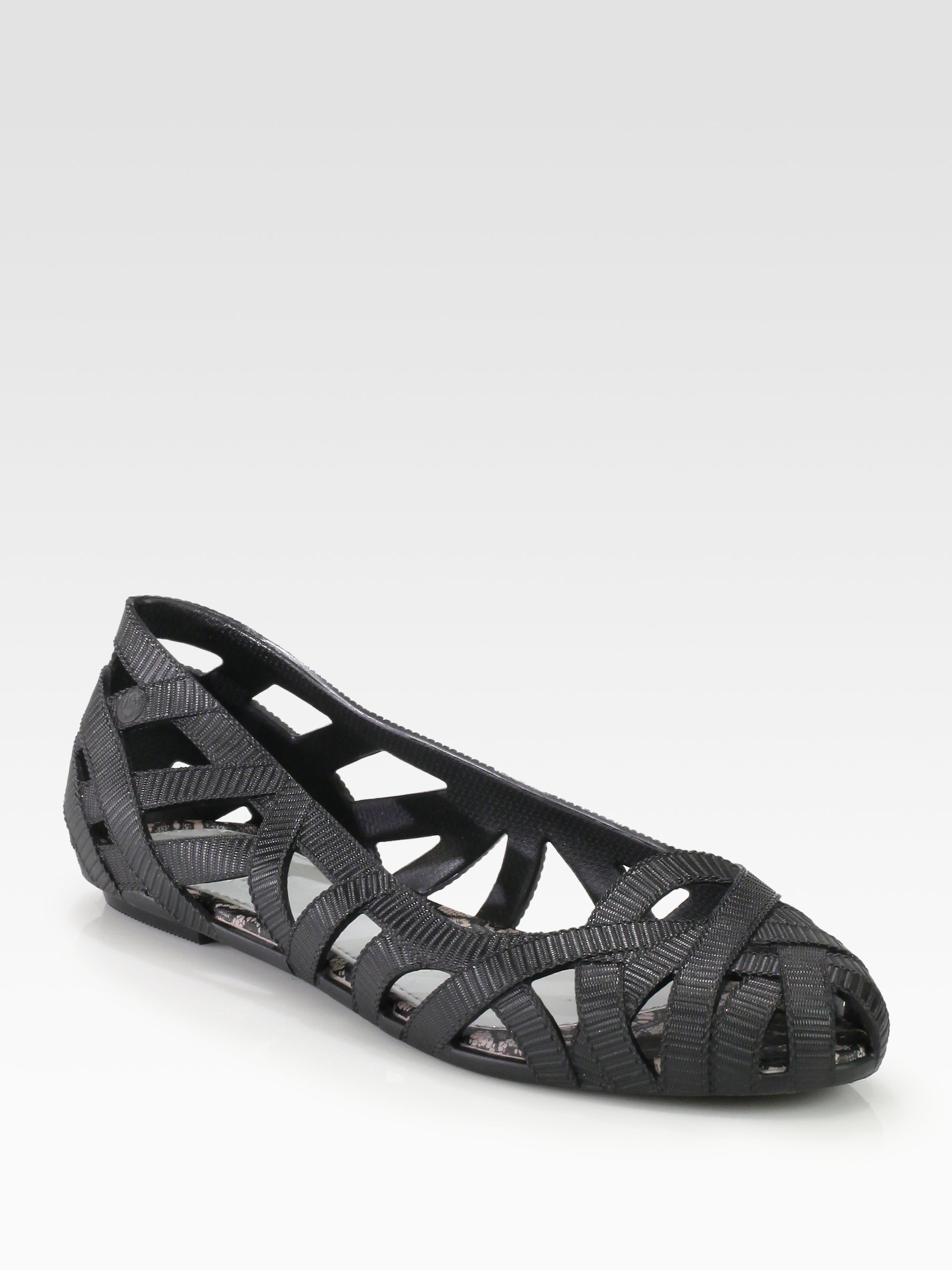c9314f47ca49 Lyst - Melissa Jean and Jason Wu Woven Jelly Ballet Flats in Black