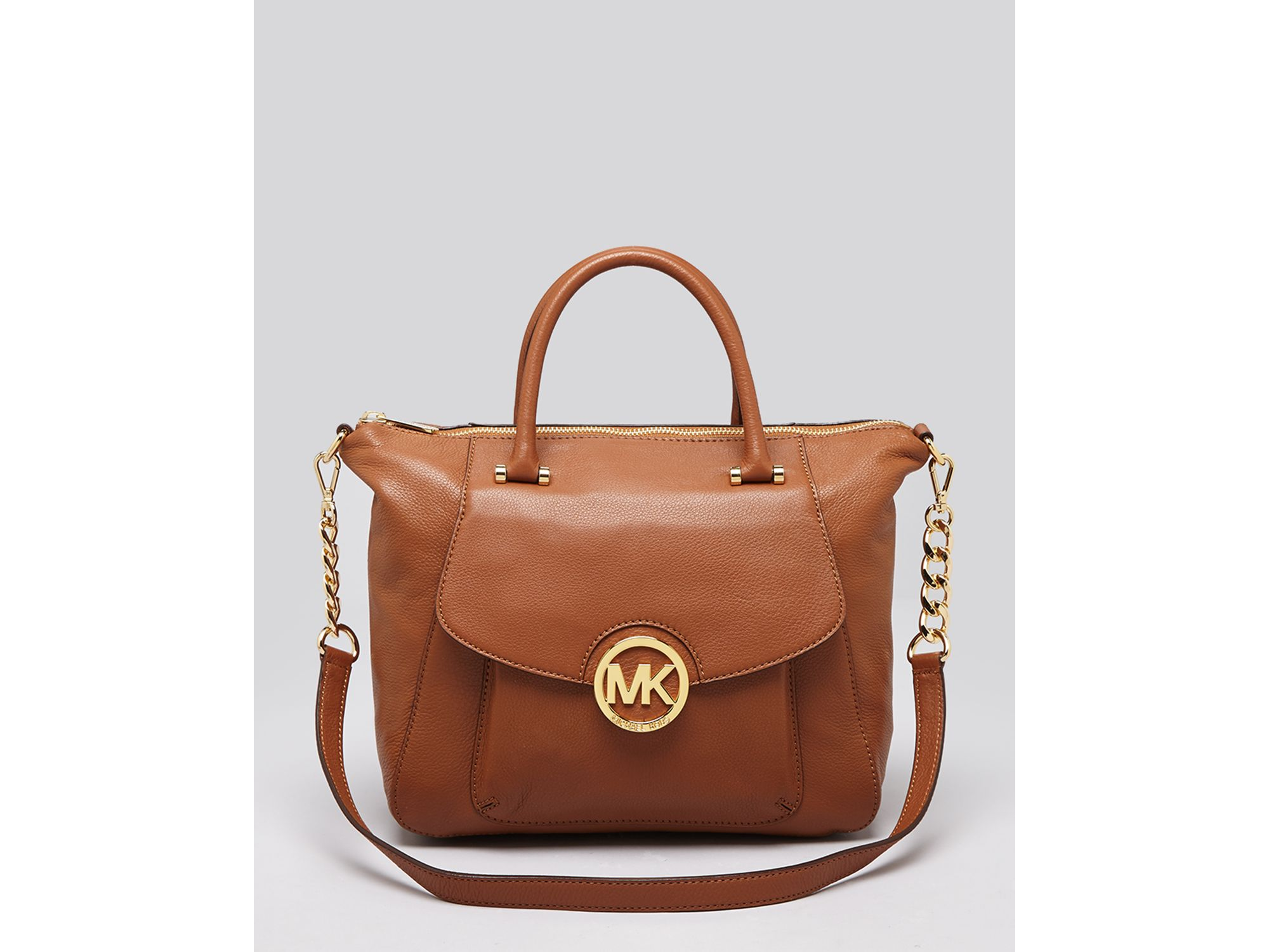 michael michael kors satchel fulton large in brown luggage lyst. Black Bedroom Furniture Sets. Home Design Ideas