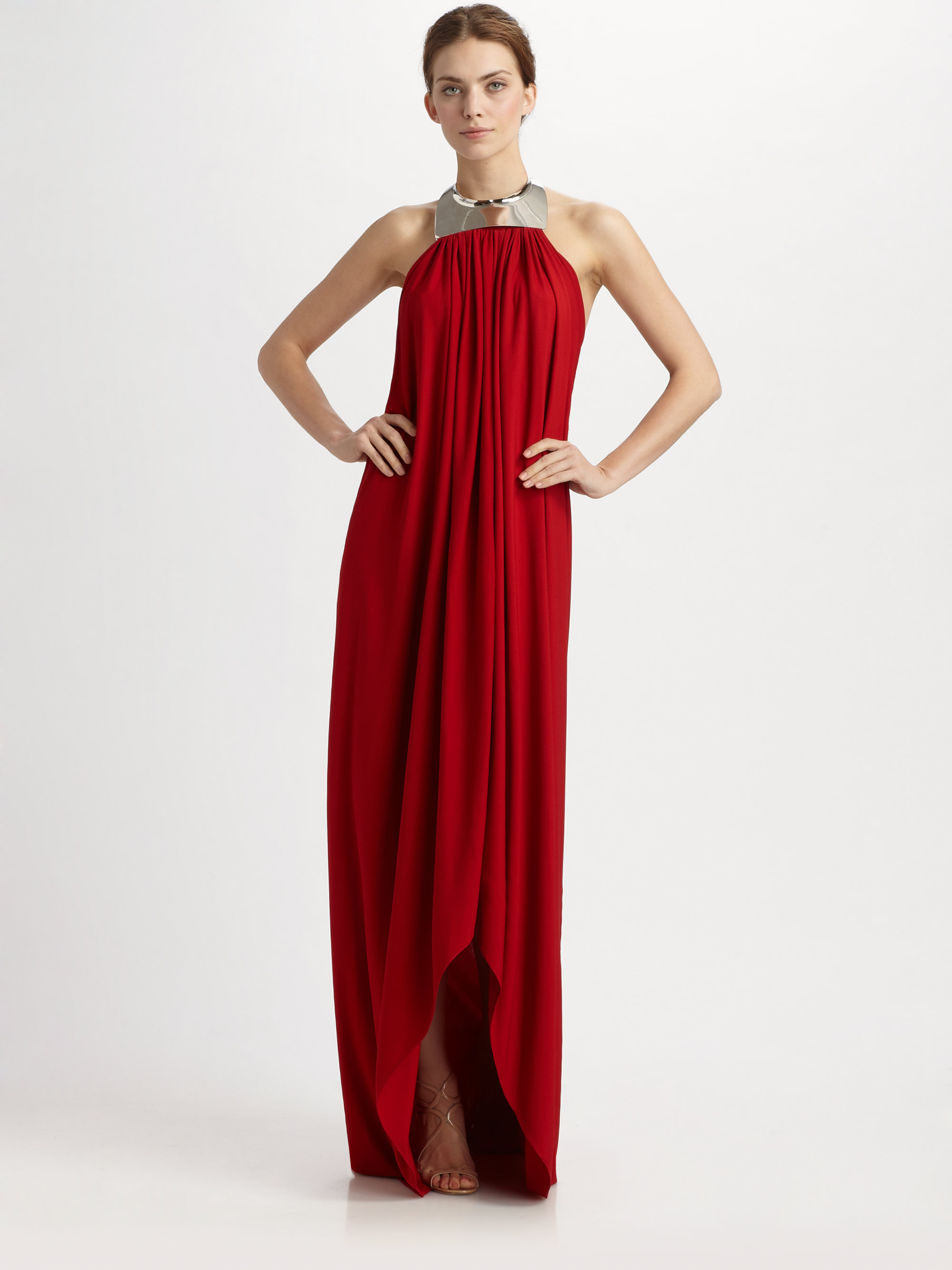 Lyst - Michael Kors Crepe Jersey Toga Gown in Red