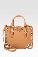 Miu Miu Madras Jeweled Satchel