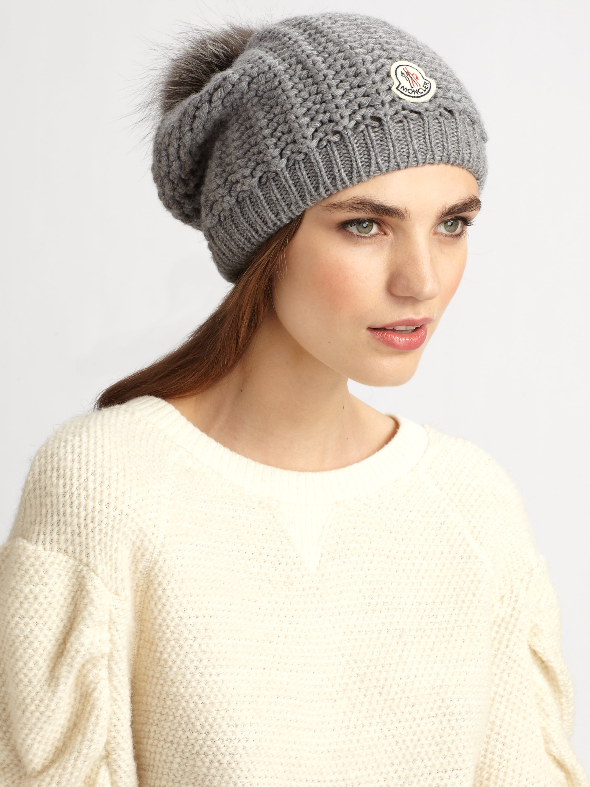 Lyst - Moncler Fox Pompom Knit Hat in Gray 2a356e51cb