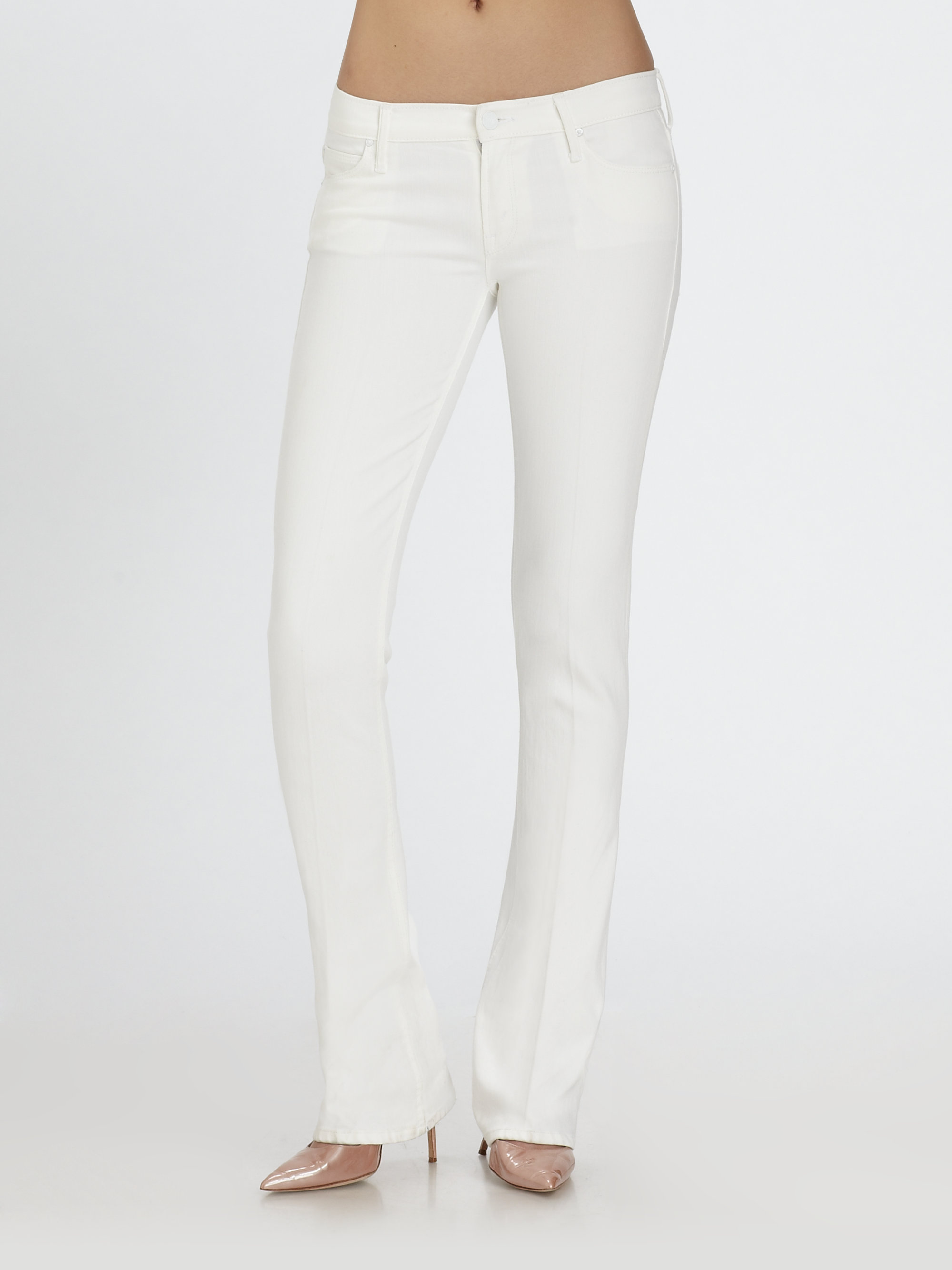 Mother The Runaway Skinny Flare Jeans in White | Lyst