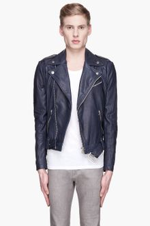 Pierre Balmain  Buffed Leather Heavy Biker Jacket - Lyst