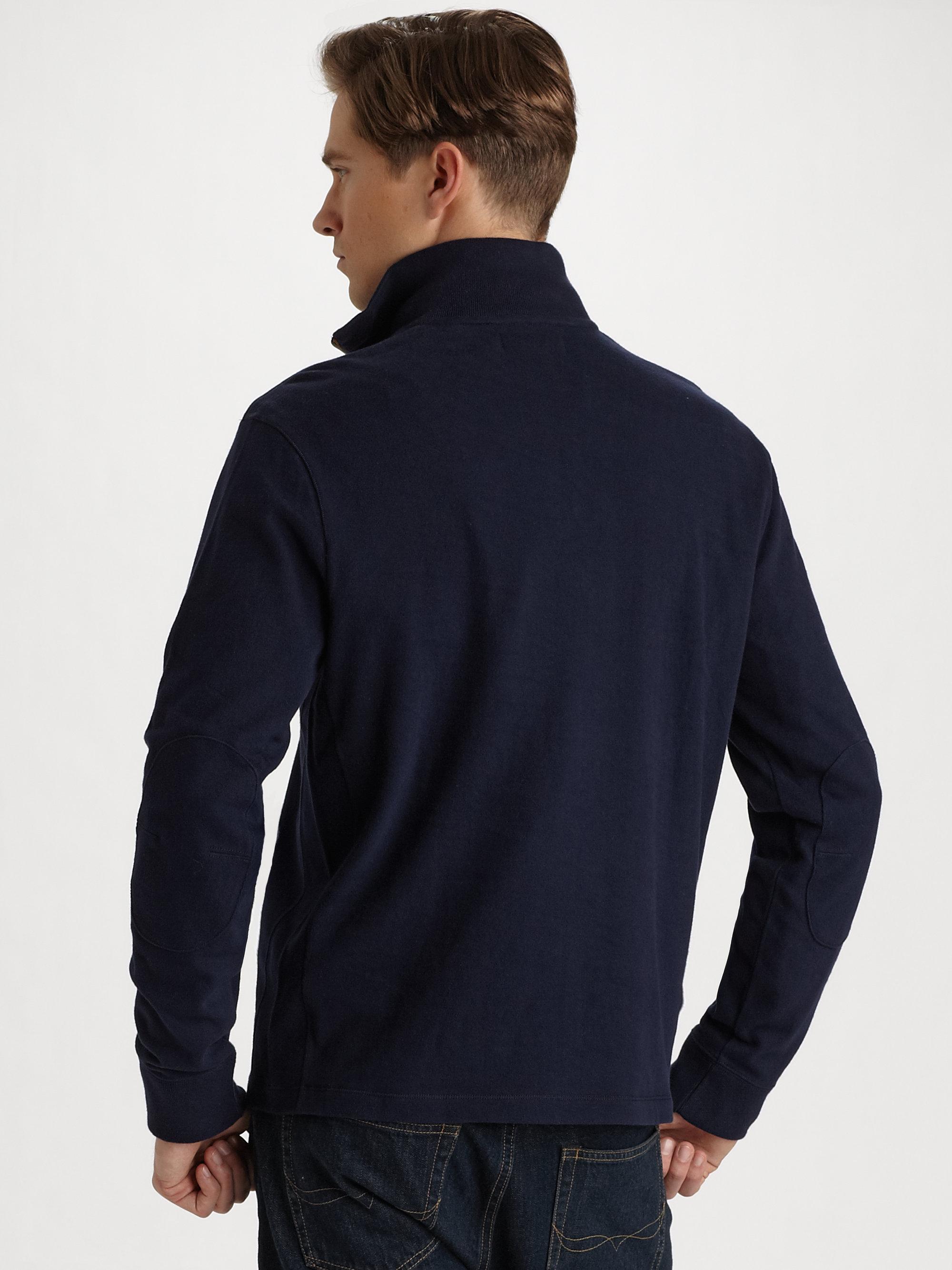 polo ralph lauren fleece halfzip pullover in blue for men. Black Bedroom Furniture Sets. Home Design Ideas