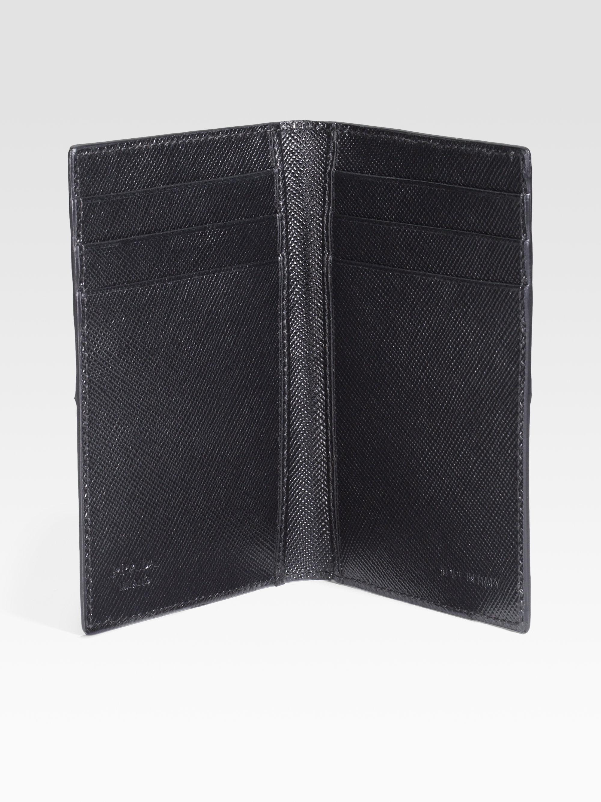 Prada Two-tone Saffiano Card Case in Black for Men (antracite) | Lyst
