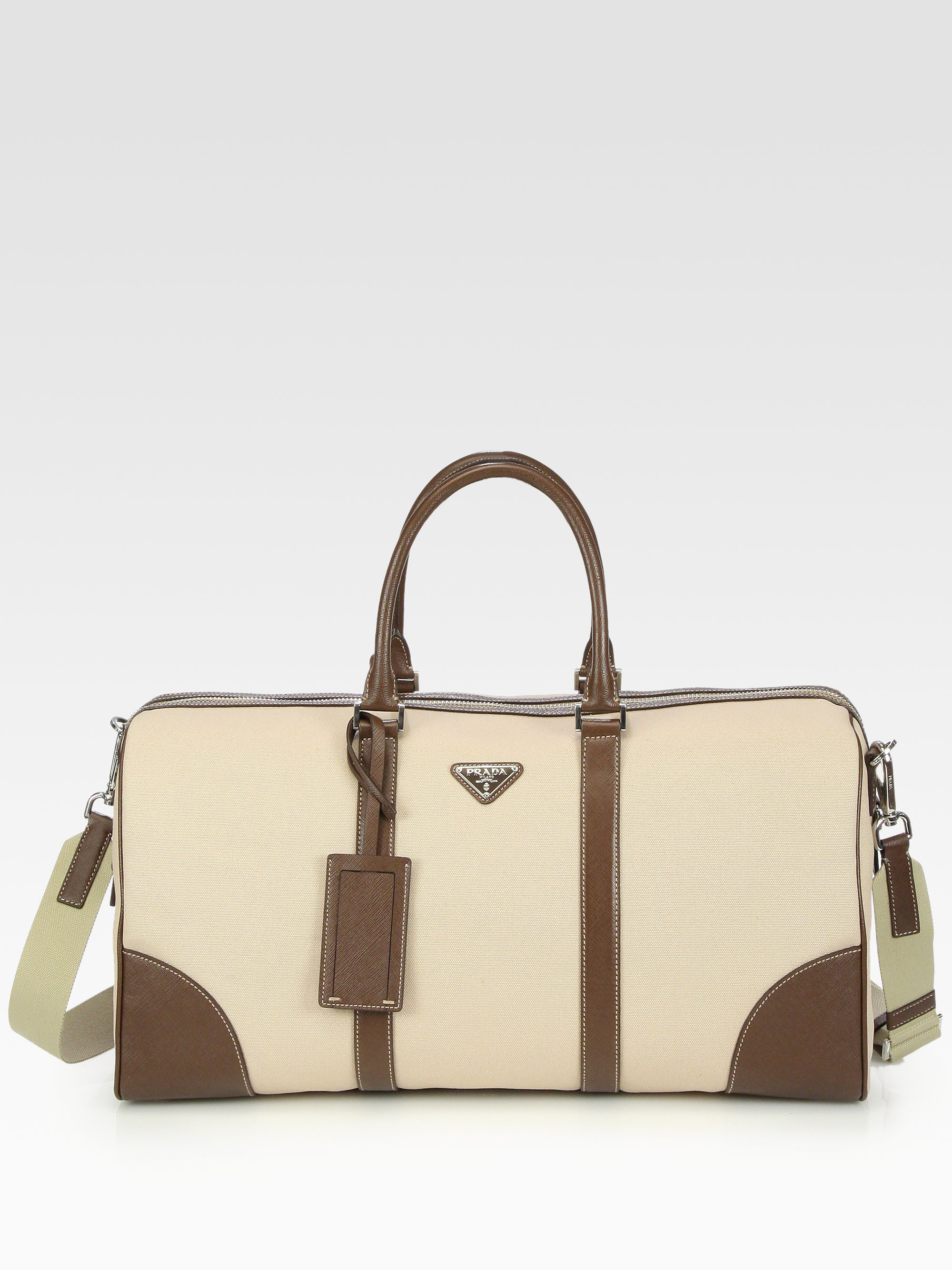 d615979da620 ... low cost lyst prada canvas and leather tote bag in natural for men  94542 5b7c0