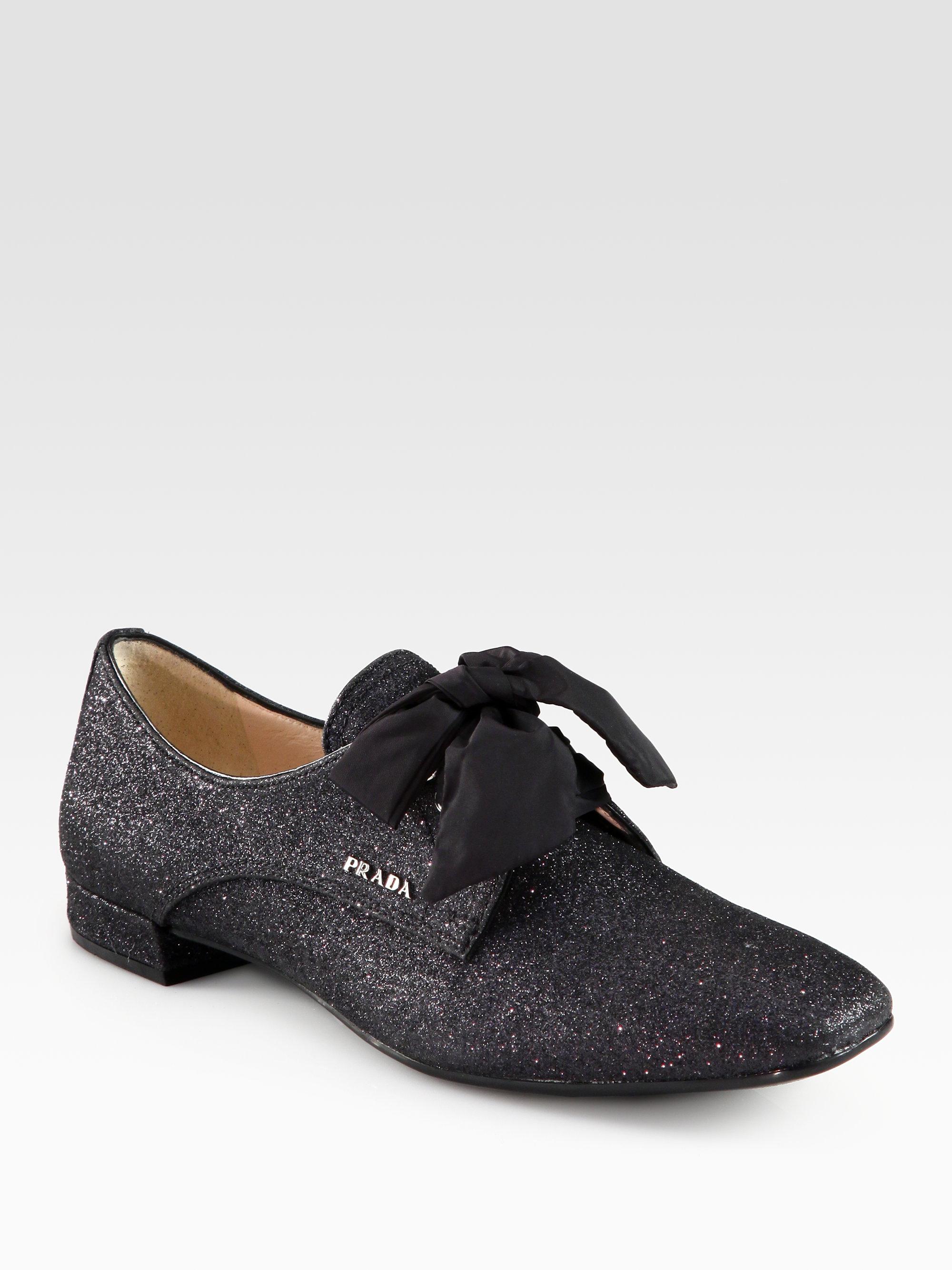 Prada Glitter Oxfords In Black | Lyst
