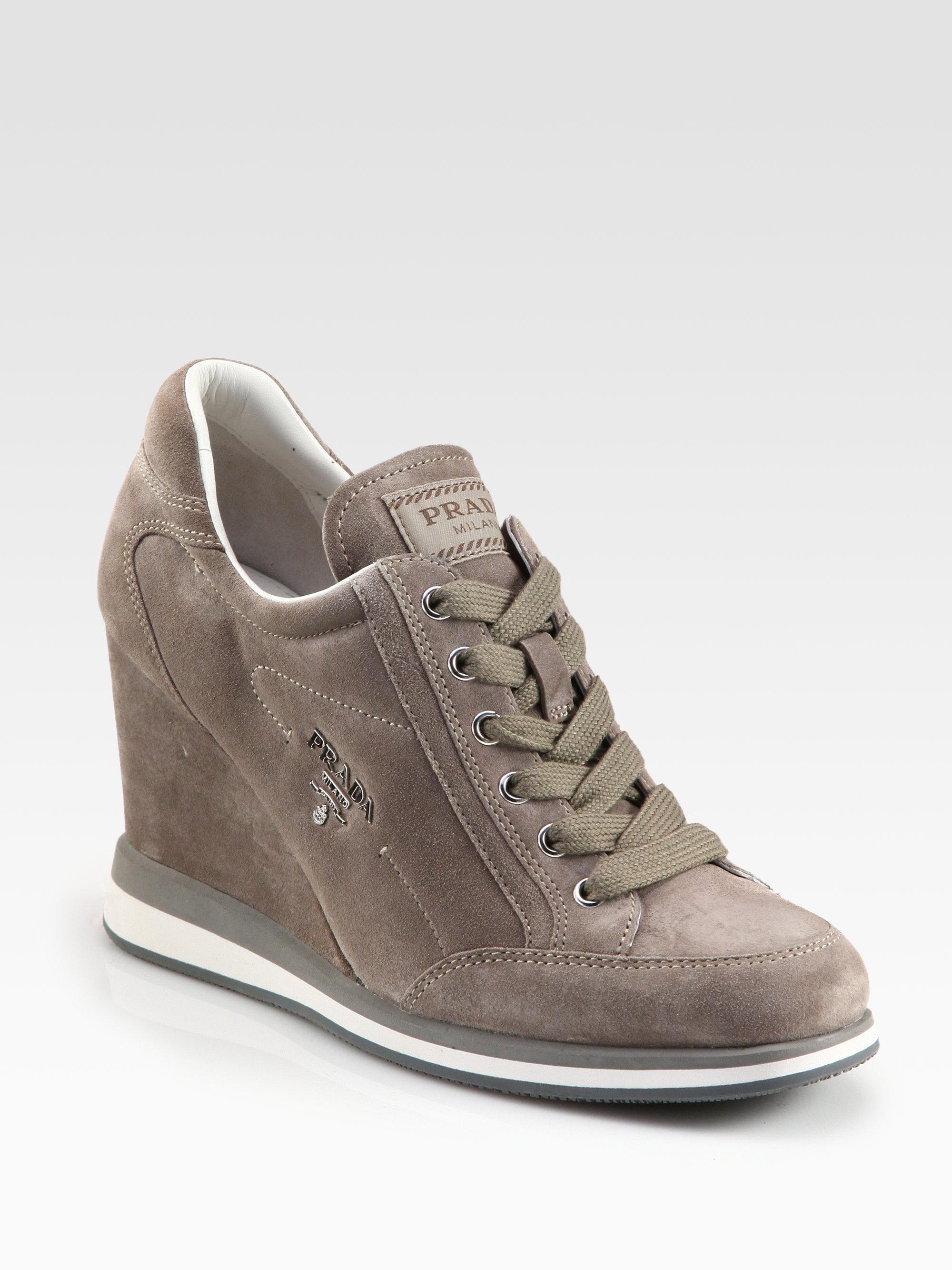 5171666f3c90 Lyst - Prada Suede Wedge Sneakers in Gray