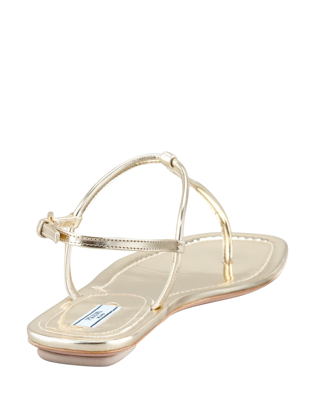be938c2d10a2 Lyst - Prada Flat Metallic Leather Thong Sandal Gol in Natural