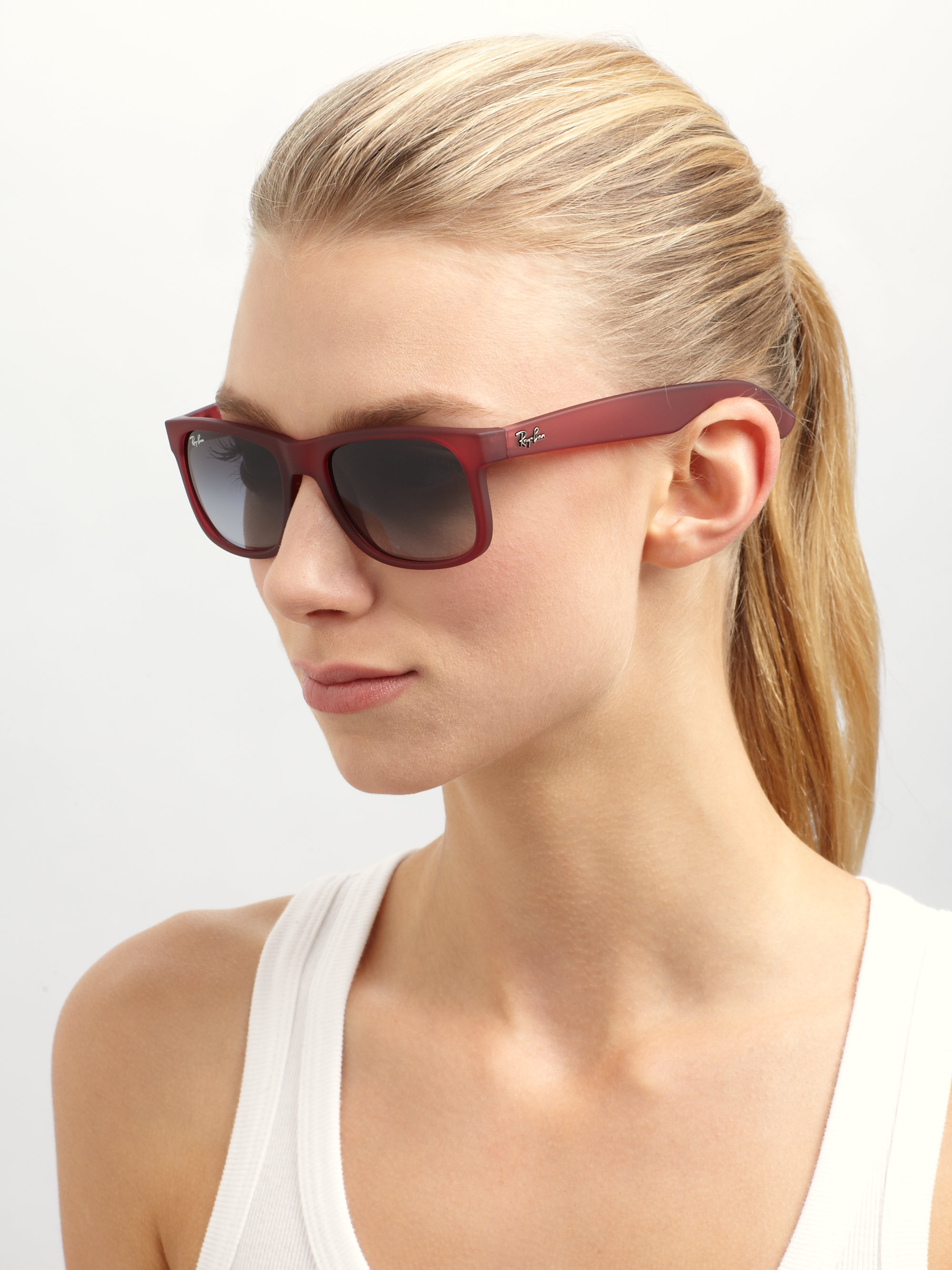 dbaaec73fa9 ... order lyst ray ban justin rubber wayfarer sunglasses in green b1498  6d2c9