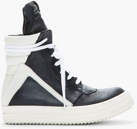 rick owens black ivory leather hightop geobasket sneakers in black lyst. Black Bedroom Furniture Sets. Home Design Ideas