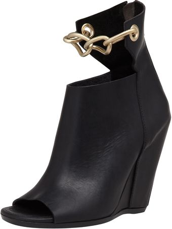 Rick Owens Chainstrap Leather Wedge Bla - Lyst