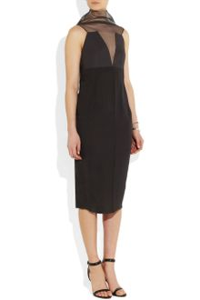 Rick Owens Prong Mesh-Paneled Silk-Crepe Dress - Lyst