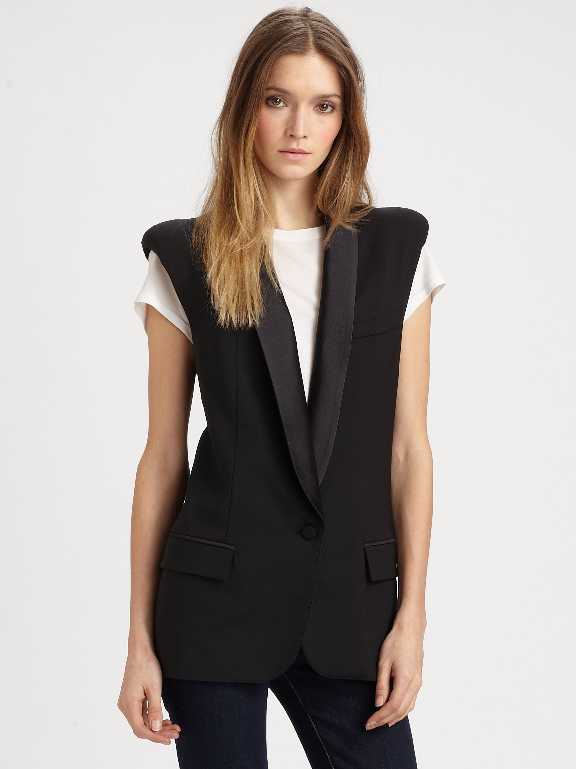 Smythe Wool Tuxedo Vest In Black Lyst