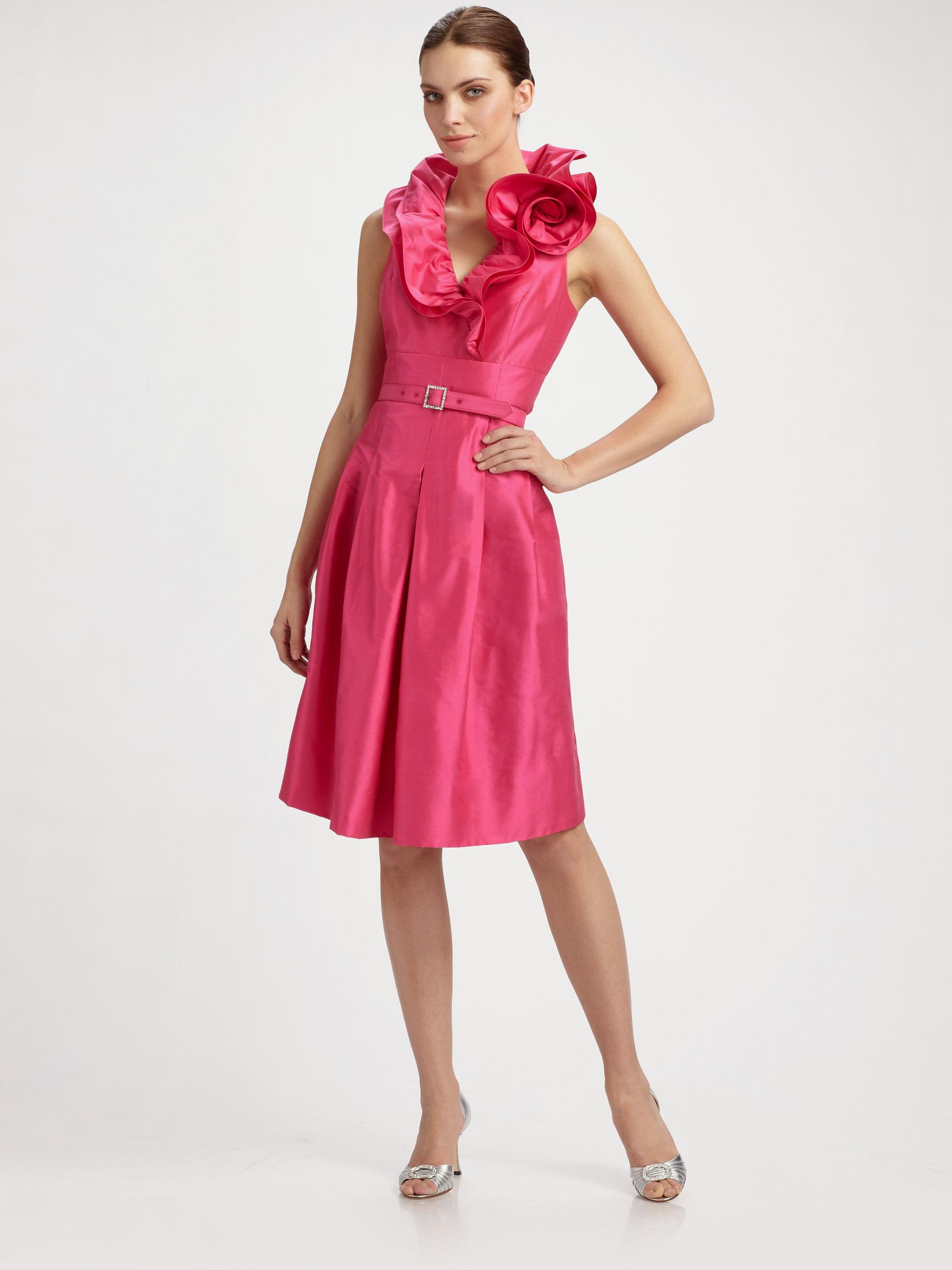 ea78fead94f Teri Jon Ruffle Neck Shirt Dress in Pink - Lyst