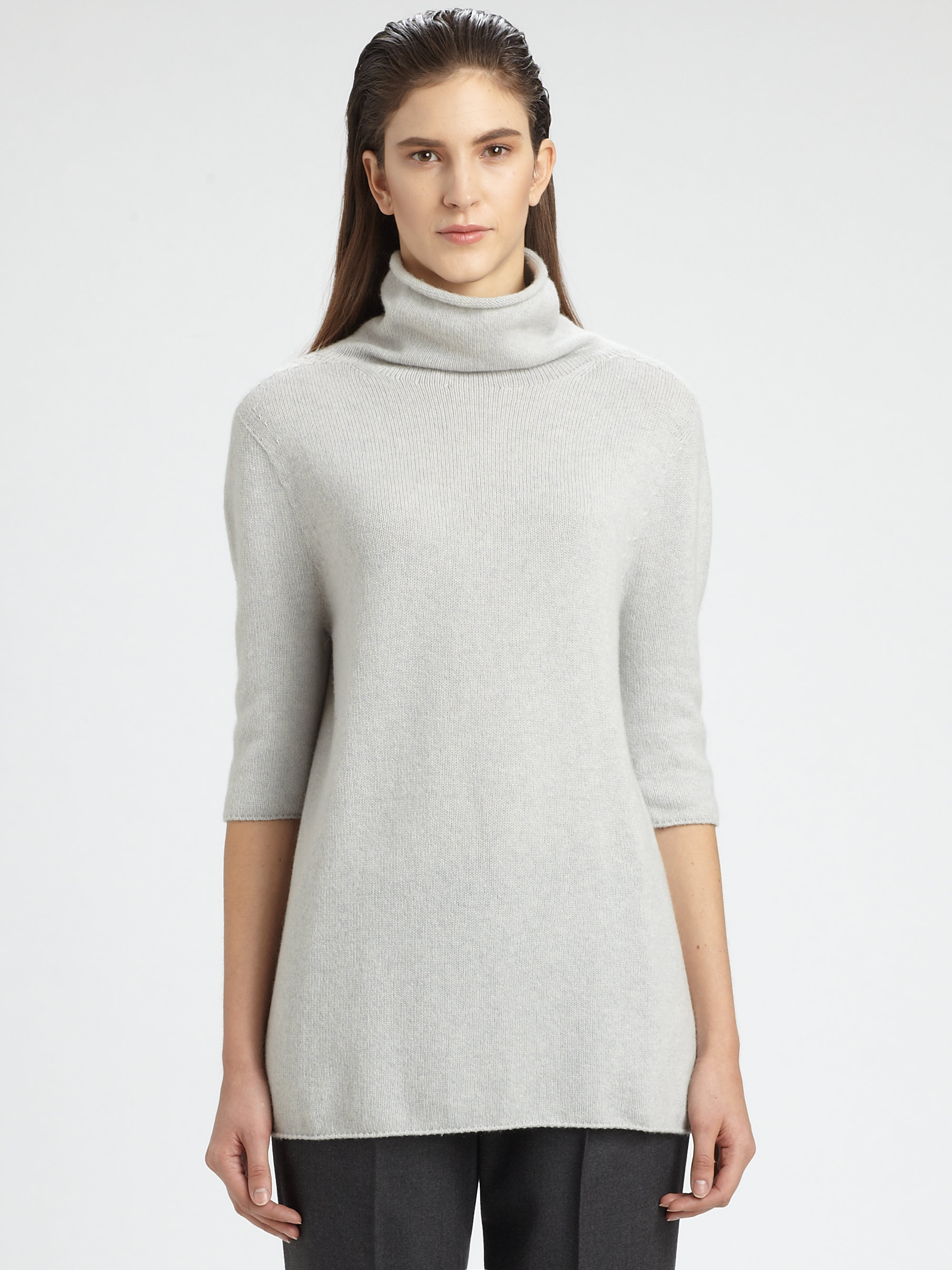 The row Zita Cashmere Turtleneck Sweater in Gray | Lyst